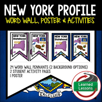 New York History Word Wall, State Profile, Activity Pages