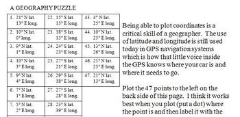 New York Latitude and Longitude Coordinates Puzzle - 47 Points to Plot