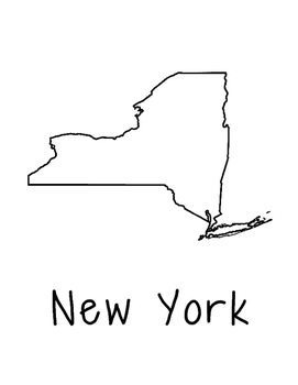 New York Map Coloring Page Craft - Lots of Room for Note-Taking & Creativity