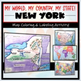 New York Map- 'My World, My Country, My State'! (Label and Color Activity)