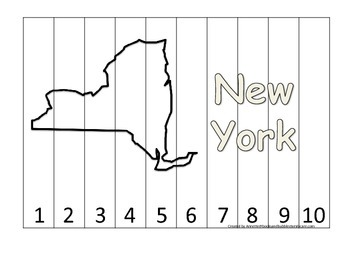 New York Number Sequence Puzzle.  Learn the States preschool printable game