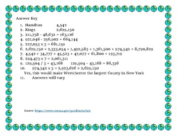 New York Data Analysis and Math Word Problems on the Population of New York