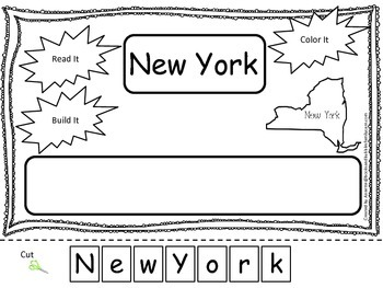 New York Read it, Build it, Color it Learn the States preschool worksheet.