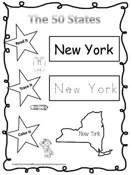 New York Read it, Trace it, Color it Learn the States preschool worksheeet.