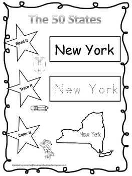 New York Read it, Trace it, Color it Learn the States preschool worksheeet.