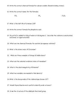 New York Regents Chemistry Reference Table Scavenger Hunt Exam Preparation