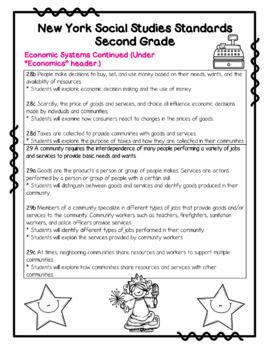 New York Social Studies Standards for 2nd Grade