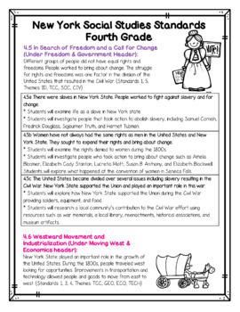 New York Social Studies Standards for 4th Grade