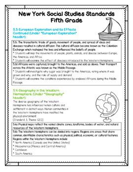 New York Social Studies Standards for 5th Grade