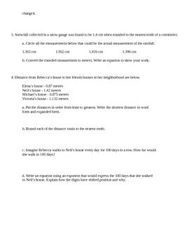 New York State 5th Grade Math Mid-Module 1 Review Worksheet Place Value