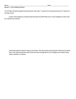 New York State 5th Grade Math Module 3 End of Module Review Worksheet