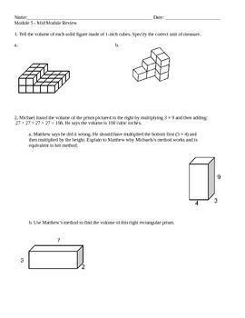 New York State 5th Grade Math Module 5 Mid-Module Review Worksheet