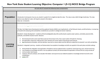 New York State APPR Student Learning Objective and Pre-test for Computer Class
