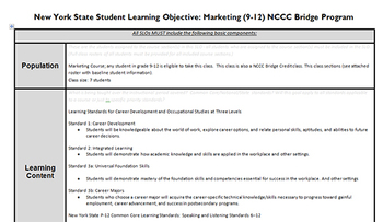New York State APPR Student Learning Objective and Pre-test for Marketing Class
