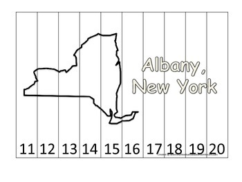 New York State Capitol Number Sequence Puzzle 11-20.  Geog