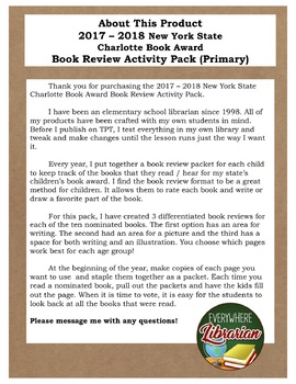New York State Charlotte Book Award 2017 - 2018 Library Review Pack PRIMARY