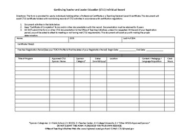 New York State Continuing Teacher and Leader Education(CTLE) Recording Sheet
