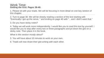 New York State ELA 6th Grade: Module 1: Unit 1: Lesson 5