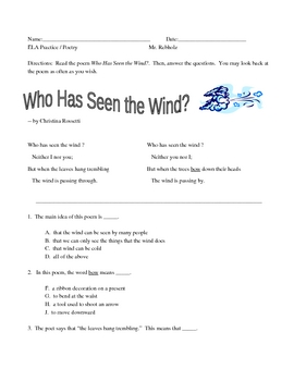 "New York State ELA Practice -- Poetry -- ""Who Has Seen the Wind?"""