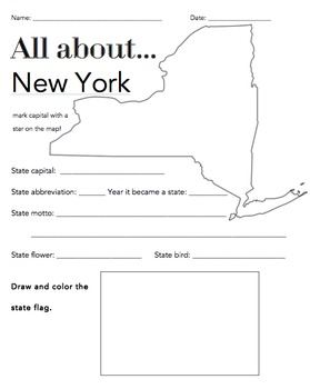 New York State Facts Worksheet: Elementary Version
