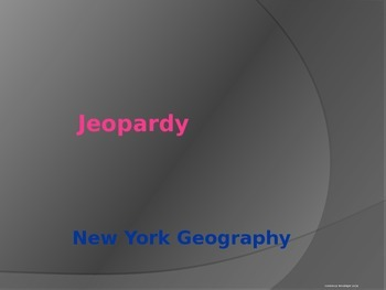 New York State Geography Jeopardy Game