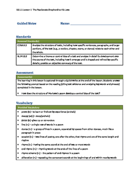 New York State Grade 10 Module 1 Unit 1- Guided Notes