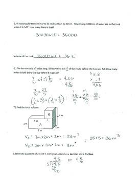 New York State Grade 5 Math Common Core Module 5 Volume and Spiral Quiz 1-6