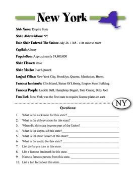 New York State Information & Worksheet