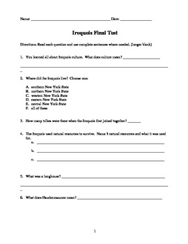 Fourth Grade Common Core Iroquois/Haudenasaunee TEST