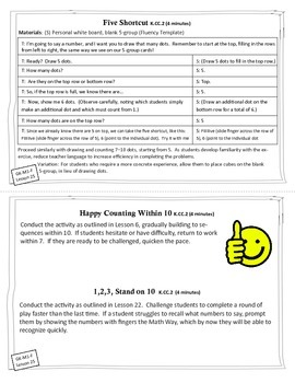 Engage New York / Eureka Math - K - Fluency Activity Cards - Module 1 F