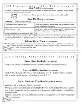 Engage New York / Eureka Math Module - K - Fluency Activity Cards - Module 1G