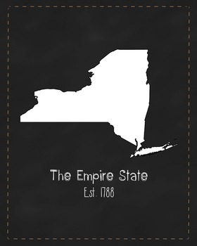 New York State Map Class Decor, Government, Geography, Black and White Design