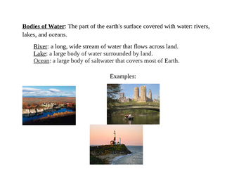 New York State-Specific Bodies of Water Vocabulary for Social Studies Word Wall