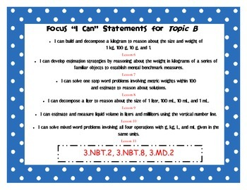 "Engage NY Third Grade Math Module 2 ""I Can"" Statements Posters"