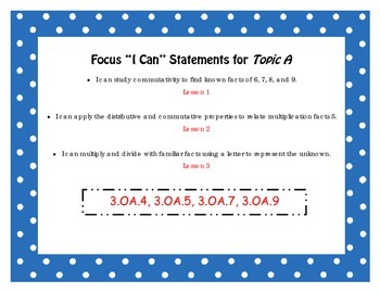 """Engage NY Third Grade Math Module 3 """"I Can"""" Statements Posters"""