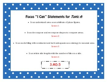 "Engage NY Third Grade Math Module 4 ""I Can"" Statements Posters"