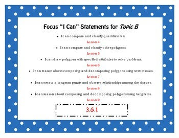 """Engage NY Third Grade Math Module 7 """"I Can"""" Statements Posters"""