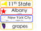 New York State Word Wall Bulletin Board Set. Geography Curriculum.