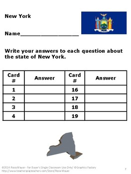 New York Task Cards and Worksheet