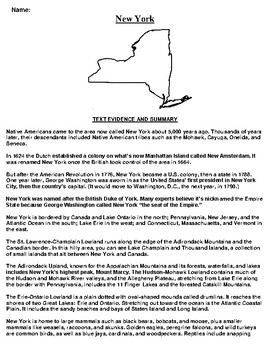 New York Text Evidence and Summary Assignment