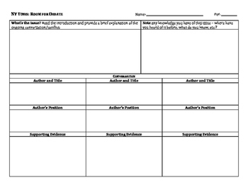 New York Times Room for Debate Graphic Organizer