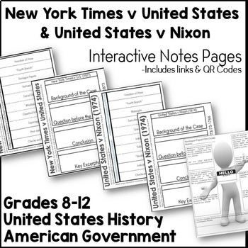 New York Times v U.S., Pentagon Papers, & U.S. v Nixon Interactive Notes Pages