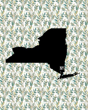 New York Vintage State Map or Poster Class Decor, Classroo