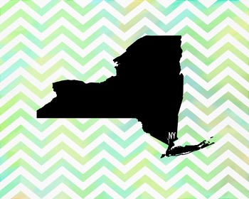 New York Chevron State Map Class Decor, Government, Geography
