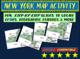 New York (state) Map Activity- fun, engaging, follow-along 25-slide PPT