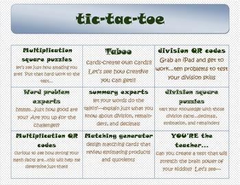 New York/Eureka Math 5th grade (module 2 review: tic-tac-toe}