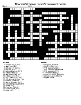 New York's Famous Person's Crossword and Word Search Puzzle with KEYS