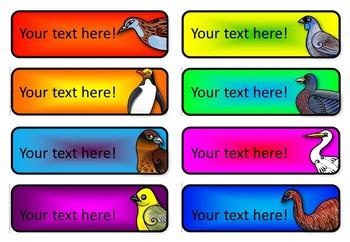 New Zealand Native Bird Labels {Editable}
