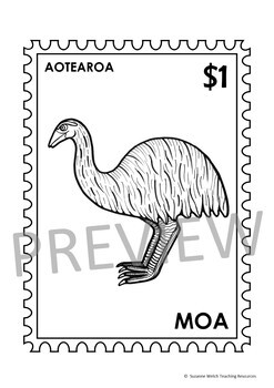 New Zealand Birds – Postage Stamps - Black and White