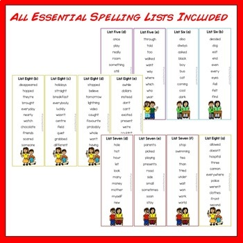 New Zealand Essential Spelling List Revision Cards PLUS Five Activities